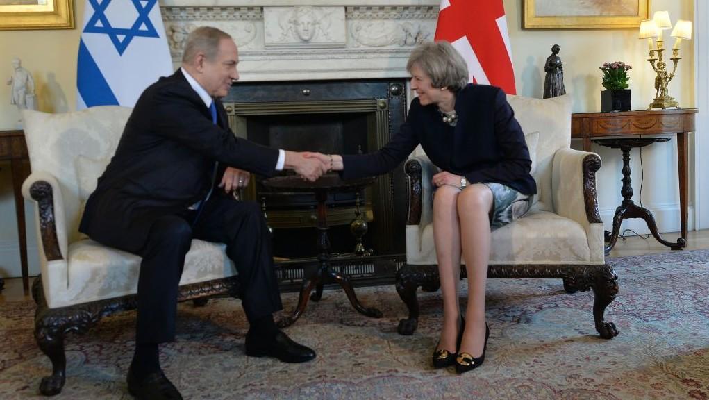 Prime Minister Benjamin Netanyahu meets with UK PM Theresa May, at 10 Downing Street in London, February 6, 2017. (Kobi Gideon / GPO)