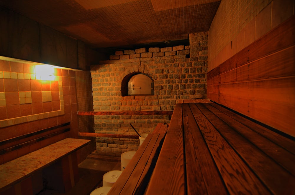 The 'American' schvitz, an intense heat sauna at Wall Street Bath and Spa, where buckets of ice-cold water can shock and refresh. (Courtesy Wall Street Bath and Spa)