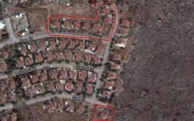 The nine homes in Ofra slated to be evacuated. (Google Maps illustration)