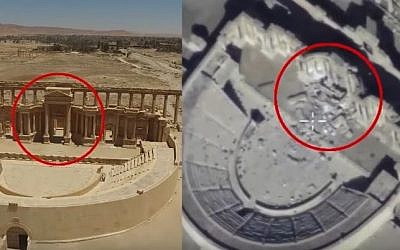 Screen capture from Russian military drone footage showing damage at the ancient site of Palmyra, Syria, February 2017. (screen capture: Sputnik/YouTube)