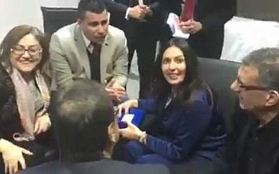 Screen capture from video of a meeting in Gaziantep, Turkey between Israeli Culture Minister Miri Regev and Gaziantep Mayor Fatma Sahin, Wednesday, February 22, 2017. (Courtesy)