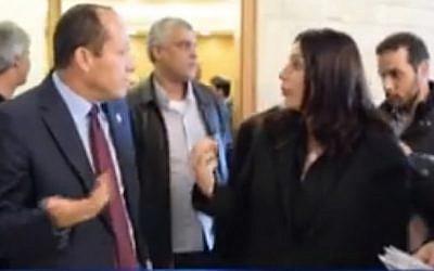 Facebook screenshot showing Culture Minister Miri Regev gesturing to Jerusalem Mayor Nir Barkat, Tuesday, February 7, 2017.