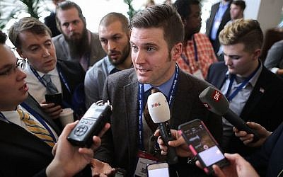 "Reporters surround white supremacist Richard Spencer during the first day of the Conservative Political Action Conference at the Gaylord National Resort and Convention Center February 23, 2017 in National Harbor, Maryland. American Conservative Union Chairman Matt Schlapp said that Spencer was ""not part of the agenda"" at CPAC. Hosted by the American Conservative Union, CPAC is an annual gathering of right wing politicians, commentators and their supporters.  (Photo by Chip Somodevilla/Getty Images, via JTA)"
