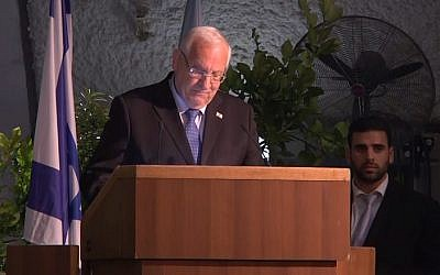 President Reuven Rivlin speaks at a memorial service on Kibbutz Dafna to mark the 20th anniversary of an IAF helicopter crash that killed 73 soldiers. (Screen capture: Ynet)