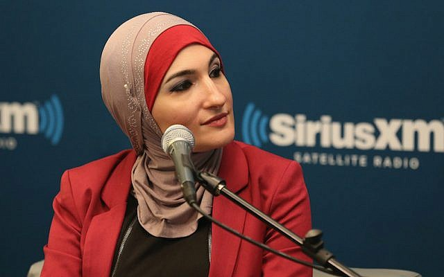 Muslim activist and BDS supporter Linda Sarsour at SiriusXM event 'Muslim in America' in New York City, October 26, 2015. (Robin Marchant/Getty Images for SiriusXM/via JTA)