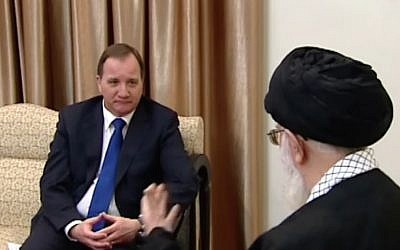 Swedish Prime Minister Stefan Lofven (l) meets Iran's supreme leader Ali Khamenei in Tehran, February 11, 2017, (Screen capture: YouTube)