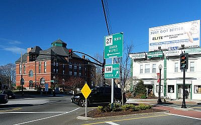 The center of the town of Stoughton (Wikimedia Commons, public domain, Marc N. Belanger)