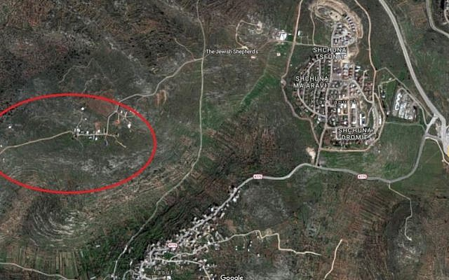 West Tapuah (circled) adjacent to the West Bank town of Kfar Tapuach (Google maps)