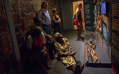 Visitors to the Kigali Genocide Museum in Kigali, Rwanda on February 14, 2017. (Miriam Alster/Flash 90)
