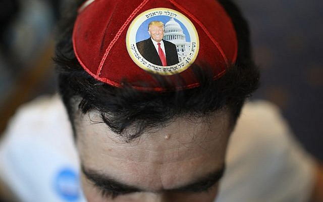 Ariel Kohane wears a Donald Trump yarmulke at the Conservative Political Action Conference in National Harbor, Md., Feb. 24, 2017. (Win McNamee/Getty Images)