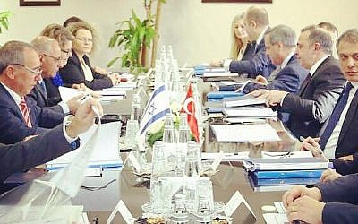 A meeting between Israeli and Turkish diplomats in Ankara, Turkey on February 1, 2017. (Yuval Rotem, courtesy)