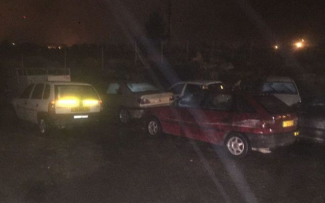 Vehicles seized by Israeli security forces late Tuesday night, February 14, 2017. (IDF Spokesperson's Unit)