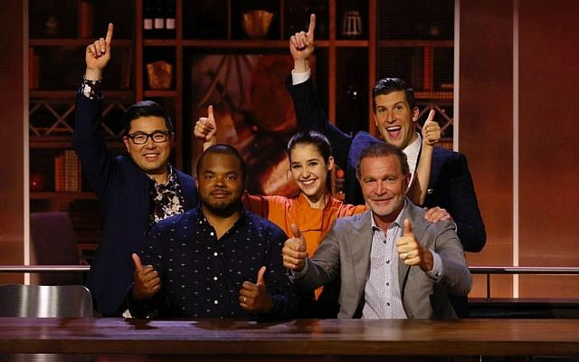 Chopped Canada Teen winner Justine Balin (center) with judges Antonio Park, Roger Mooking and Mark McEwan, and host Brad Smith, January 2017. (Food Network Canada)