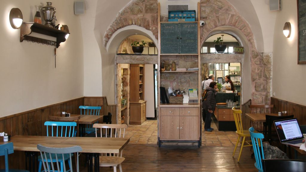 Village Green, a popular vegan restaurant in Jerusalem's Nahalat Shiva neighborhood. (Shmuel Bar-Am)