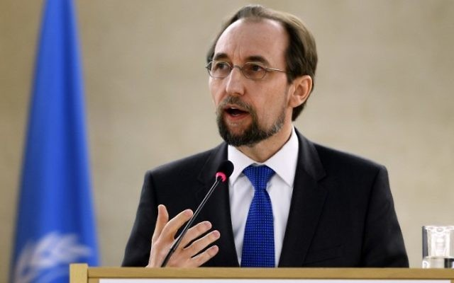 United Nations High Commissioner for Human Rights Zeid Ra'ad Zeid al-Hussein, gives a speech at the opening of a meeting of the United Nations Human Rights Council on February 27, 2017, in Geneva, Switzerland. (AFP Photo/Fabrice Coffrini)