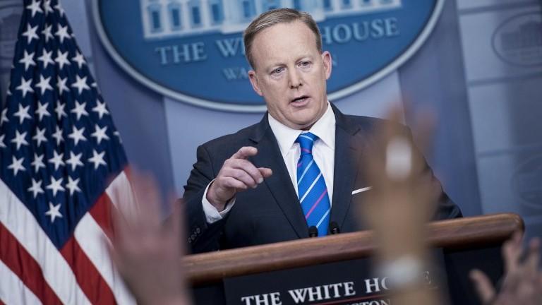 White House Press Secretary Sean Spicer speaks during a press briefing at the White House February 27, 2017 in Washington, DC. (AFP PHOTO / Brendan Smialowski)