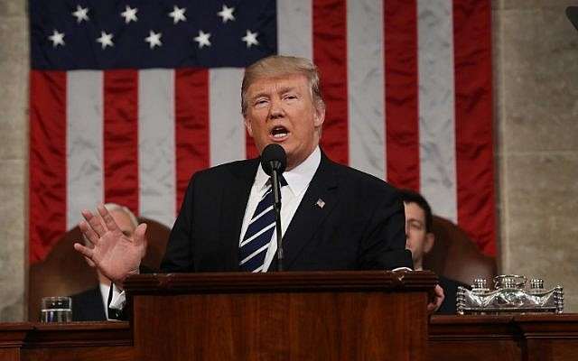 US President Donald J. Trump delivers his first address to a joint session of Congress from the floor of the House of Representatives in Washington, DC, USA, 28 February 2017. (AFP PHOTO / POOL / JIM LO SCALZO)