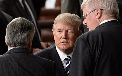 US President Donald Trump departs after addressing a joint session of the US Congress on February 28, 2017 at the Capitol in Washington, DC. (AFP PHOTO / ANDREW CABALLERO-REYNOLDS)