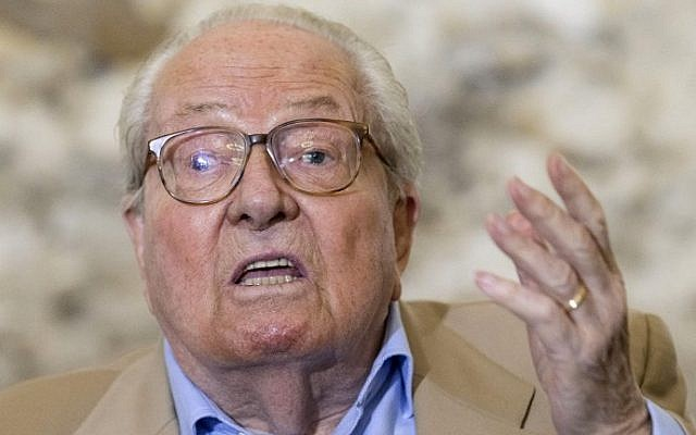 This file photo taken on September 28, 2016 shows French far-right National Front party founder and former leader Jean-Marie Le Pen delivering a speech during a press conference in Mormant, near Paris. (AFP Photo/Geoffroy Van Der Hasselt)