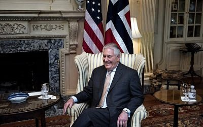 US Secretary of State Rex Tillerson waits for a meeting with Norway's Foreign Minister Borge Brende at the US Department of State on March 1, 2017 in Washington, DC. (Brendan Smialowski/AFP)