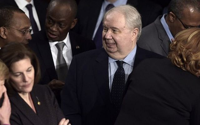 Then Russian Ambassador to the US Sergey Kislyak, center, arrives before US President Donald Trump addresses a joint session of the US Congress in Washington, DC, February 28, 2017 (AFP/Brendan Smialowski)