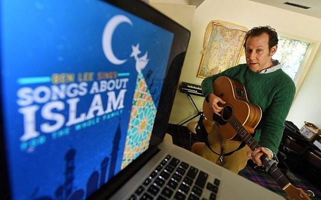Australian musician Ben Lee rehearses inside his home studio in Los Angeles, California on March 2, 2017. (AFP PHOTO / Mark RALSTON)
