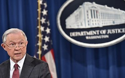US Attorney General Jeff Sessions speaks during a press conference at the US Justice Department on March 2, 2017, in Washington DC. (AFP/ Nicholas Kamm)