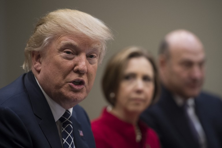 US President Donald Trump speaks during a NEC listening session with CEOs of small and community banks at the White House in Washington DC, March 9, 2017. (AFP/Jim Watson)