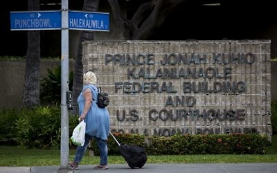The Prince Jonah Kuhio Federal Building and US District Courthouse on March 9, 2017 in Honolulu, Hawaii where US President Donald Trump's revised travel ban on refugees and nationals from six mainly Muslim countries faces a new round of legal challenges. (AFP/Kent Nishimura)