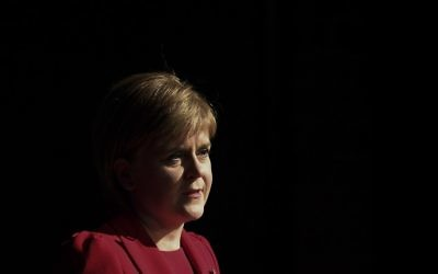 "This file photo taken on November 7, 2016 shows Scotland's First Minister Nicola Sturgeon delivering a lecture entitled ""Scotland and the UK: Economic Policy after the EU Referendum"" at a Sheffield Political Economy Research Unit event at the University of Sheffield's Octagon Centre in Sheffield, northern England. (Paul Ellis/AFP)"