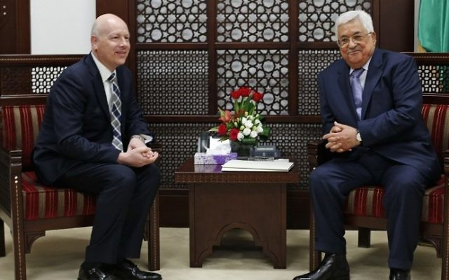 Palestinian Authority President Mahmoud Abbas (R) meets with Jason Greenblatt, Donald Trump's special representative for international negotiations, in the West Bank city of Ramallah, on March 14, 2017. (AFP Photo/Abbas Momani)