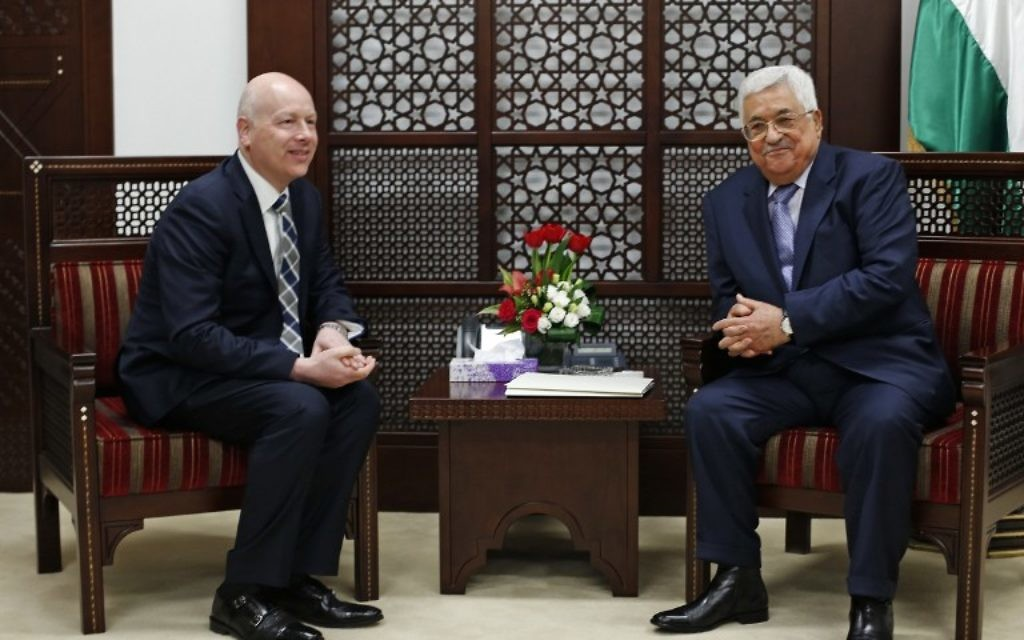 Palestinian Authority President Mahmoud Abbas (right) meets with Jason Greenblatt, the US president's assistant and special representative for international negotiations, at Abbas's office in the West Bank city of Ramallah, March 14, 2017. (AFP/Abbas Momani)
