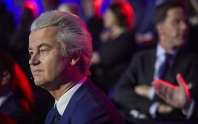 Geert Wilders of the Freedom Party (PVV) speaks during a televised debate between the eight top party leaders in The Hague on March 14, 2017, a day before the parliamentary elections. (AFP PHOTO / POOL / Phil Nijhuis)