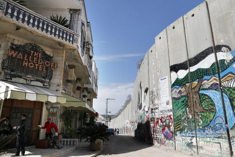 The Israeli Controversial Separation Wall Is Seen In Front Of Artist Banksy S Newly Opened Walled Off