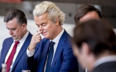 Dutch PVV leader Geert Wilders is seen prior to a meeting between main parties leaders and the Chairman of the Senate in The Hague, on March 16, 2017, one day after the general elections. (Jerry Lampen/AFP/ANP)