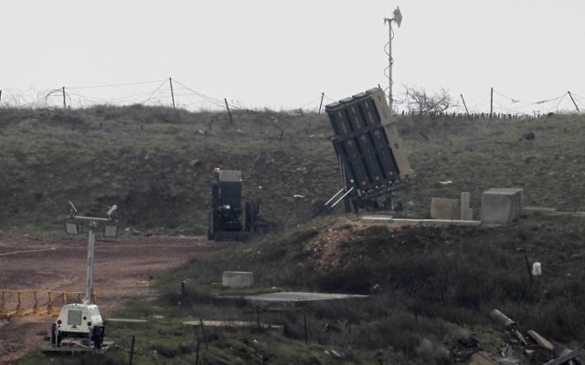 Illustrative. An Iron Dome missile defense system, designed to intercept and destroy incoming short-range rockets and artillery shells, is deployed in the Golan Heights near the Israel-Syria border, on March 17, 2017  (AFP / JALAA MAREY)