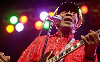 Chuck Berry performing at the Congress Theater in Chicago, Illinois, December 31, 2010. (AFP Photo/Getty Images/Timothy Hiatt)