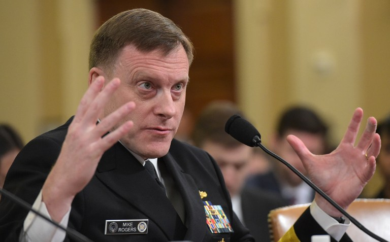National Security Agency Director Mike Rogers speaks during the House Permanent Select Committee on Intelligence hearing on Russian actions during the 2016 election campaign on March 20, 2017 on Capitol Hill in Washington, DC. (AFP/MANDEL NGAN)