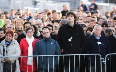 Employees at Brussels' international airport in Zaventem gather for a memorial ceremony to mark the first anniversary of the twin Brussels attacks by Islamic extremists on March 22, 2017. (Emmanuel Dunand/AFP)