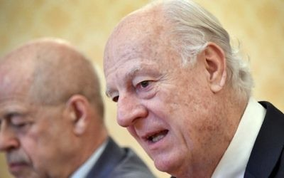 The United Nations' Syria envoy Staffan de Mistura speaks during a meeting with Russian Foreign Minister in Moscow on March 22, 2017. (AFP PHOTO / Alexander NEMENOV)