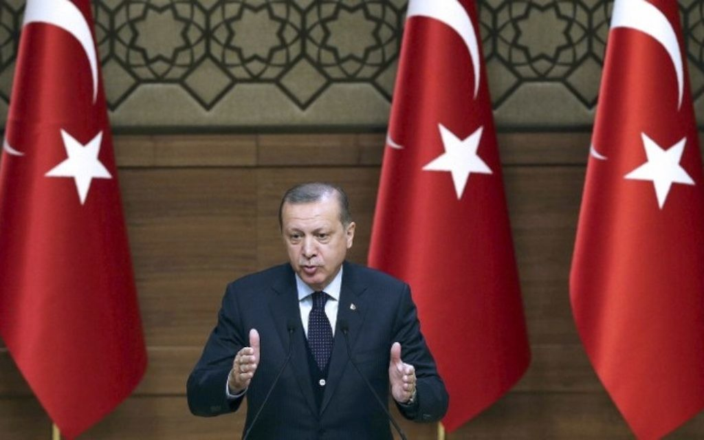 Turkish President Recep Tayyip Erdogan delivers a speech during a Turkish Anatolian Publishers Association Members meeting at the Presidential Complex in Ankara on March 22, 2017. (Adem Altan/AFP)