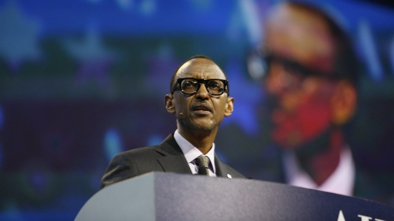Rwandan President Paul Kagame speaks at the American Israel Public Affairs Committee (AIPAC) Policy Conference in Washington, DC, on March 26, 2017. (AFP Photo/Andrew Biraj)