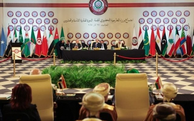 A picture taken on March 27, 2017 shows a general view of the preparatory meeting of Arab Foreign Ministers during the 28th Summit of the Arab League at the Dead Sea, south of the Jordanian capital Amman, with the Arab League Secretary-General Ahmed Abul-Gheit (C-L) and chair Jordanian Foreign Minister Ayman al-Safadi (C) seated in the center. (Ahmad Abdo/AFP)