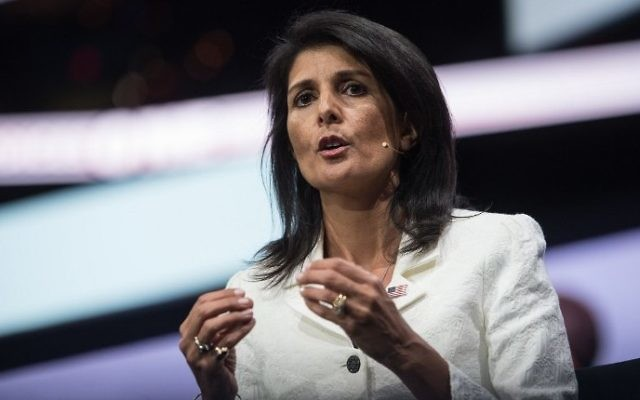 US Ambassador to the United Nations Nikki Haley addresses the American Israel Public Affairs Committee (AIPAC) policy conference in Washington, DC, March 27, 2017. (AFP/Nicholas Kamm)