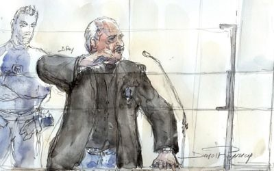 This courtroom sketch created in Paris on March 28, 2017 shows Venezualian criminal Ilich Ramirez Sanchez, aka Carlos (C) during his trial for the deadly bombing at Publicis Paris shop more than 40 years ago. (AFP/Benoit Peyrucq)