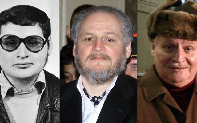 "(COMBO) This combination of file pictures created on March 28, 2017 shows (L-R) a portait of Venezuelan self styled revolutionary Ilich Ramirez Sanchez, also known as ""Carlos the Jackal"" taken in the early 1970's, Ramirez arriving to face trial at the Palais de Justice in Paris on March 7, 2001 and arriving at the Criminal Court of the Palais de Justice in Paris on December 9, 2013. (AFP)"
