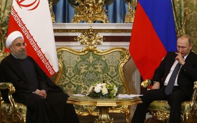 Russian President Vladimir Putin (R) meets with his Iranian counterpart Hassan Rouhani at the Kremlin in Moscow on March 28, 2017. (Sergei Karpukhin/AFP)