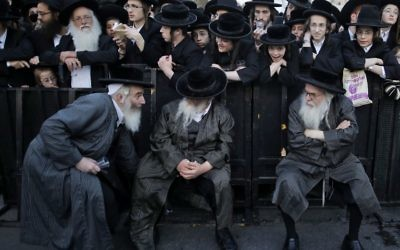 Illustrative: Ultra-Orthodox Jews protest against Israeli army conscription, in Jerusalem, on March 28, 2017. (AFP PHOTO / MENAHEM KAHANA)