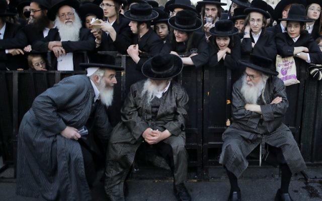 Ultra-Orthodox Jews protest against Israeli army conscription, in Jerusalem, on March 28, 2017. (AFP PHOTO / MENAHEM KAHANA)