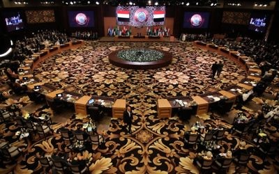 File: A general view shows the Arab League summit in the Jordanian Dead Sea resort of Sweimeh, March 29, 2017. (AFP/Khalil Mazraawi)